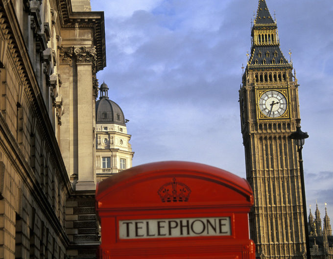 Big Ben and telephone box, Westminster, London, England, UK. *Archive image available on request*