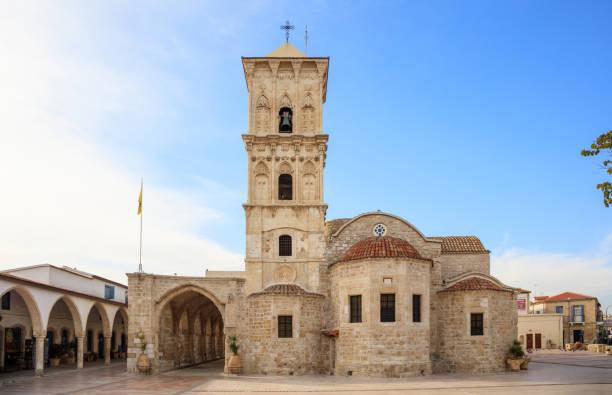 Agios Lazaros, an orthodox church under blue sky with few clouds, at Larnaca, Cyprus.