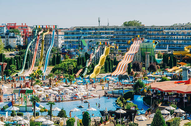 Sunny Beach, Bulgaria - September 1, 2015: Panoramic view of Water park Action in Sunny Beach with number of slides and swimming pools for children and adults.