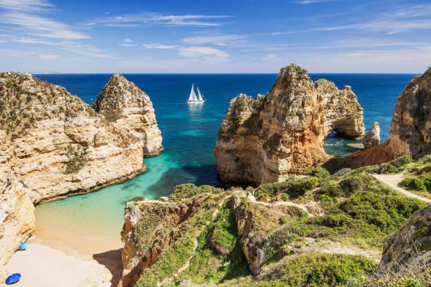 Scenic landscape and beach on Algarve coast, Portugal