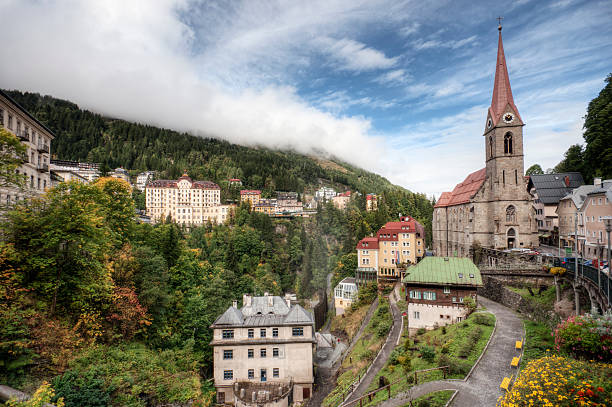 The St. Preims Parish Church in Bad Gastein has its origins in the year 696, although the current structure was built in 1736 and has been subject to multiple restorations throughout its history due to the rather unstable location of its foundation. High dynamic range post-processing.