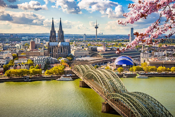 Aerial view of Cologne at spring, Germany