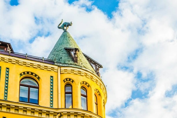 RIGA, LATVIA - NOVEMBER 3, 2014: Cat House (Kaķu nams) it was built in 1909 according to blueprint of architect Friedrich Scheffel. Is styled as medieval architecture with some elements of Art Nouveau, Riga, Latvia.