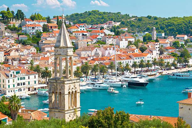 Amazing town of Hvar harbor aerial view, Dalmatia, croatia