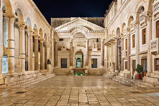 Split, Сroatia - August 4, 2014: Peristyle of Diocletian's Palace at night with nobody around, an ancient palace built by the Roman emperor Diocletian