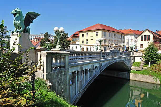 Dragon's bridge and Ljubljanica river beneath, Ljubljana, Slovenia