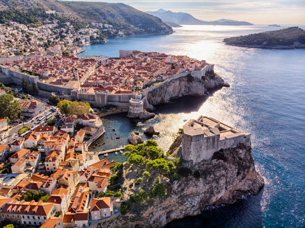 Aerial view of Saint Lawrence Fortress and Dubrovnik old town city walls