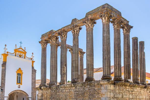 Templo Romano or Templo de Diana next to Pousada Convento dos Loios in Evora, Alentejo, Portugal