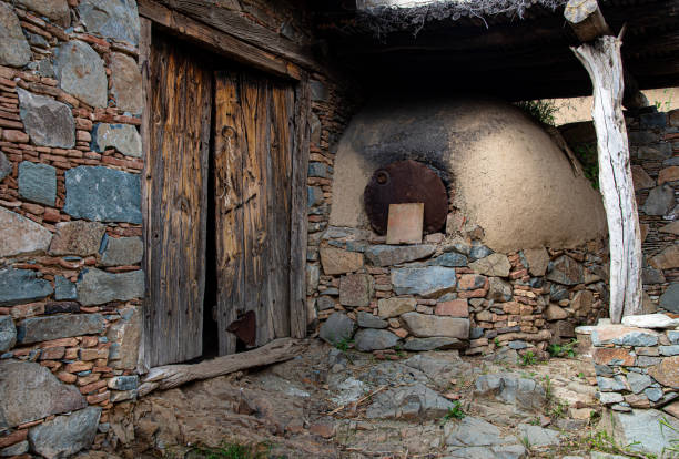 Traditional house exterior courtyard with clay oven at the village of Fikardou in Cyprus