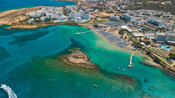 Fig tree beach Protaras Cyprus aerial