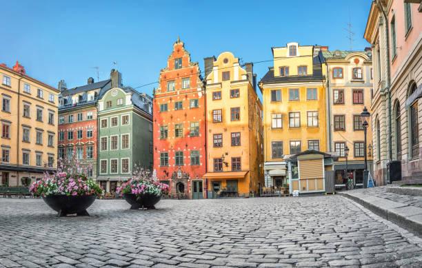 Old colorful houses on Stortorget square in Stockholm, Sweden