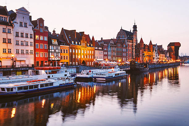 High angle view of Gdansk town the shore of the river Motlawa