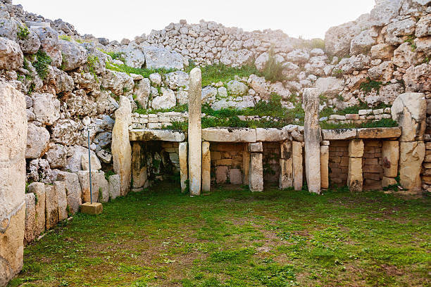 "Neolithic megalith temple complex of Ggantija (Tempji Neolitici Tal-Ggantija, ""Giant Tower"") on the island of Gozo in Malta. UNESCO World Heritage Site."