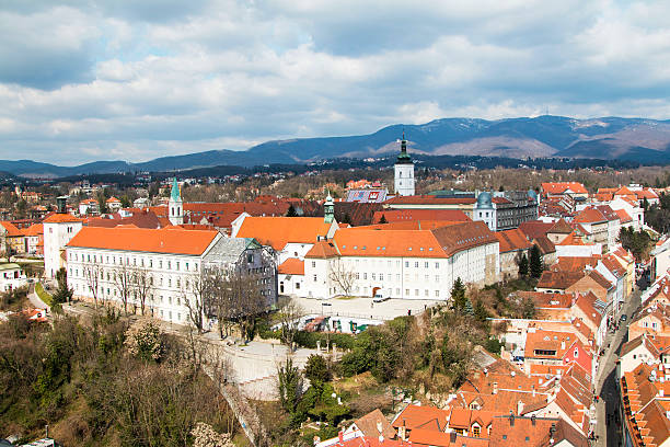 Upper town in Zagreb, Croatia, aerial view