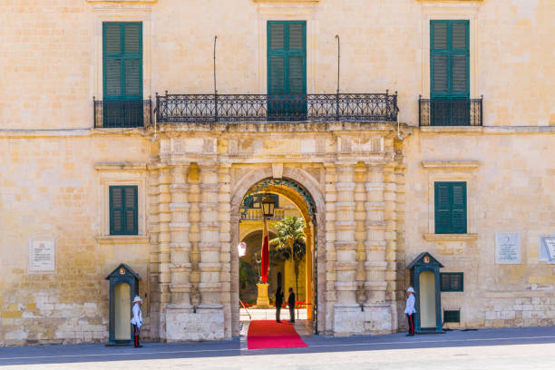 Valletta, Malta, May 3, 2017: View of the national guard in front of the grandmasters palace in Valletta, Malta