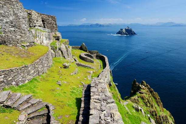 Skellig Michael or Great Skellig, home to the ruined remains of a Christian monastery. Inhabited by variety of seabirds, including gannets and puffins. UNESCO World Heritage Site, Ireland.
