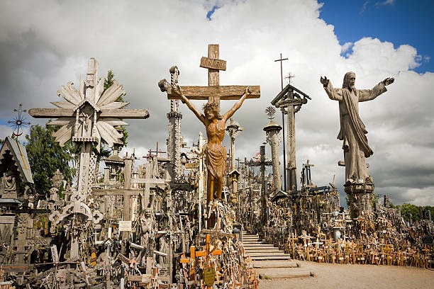 Siauliai, Lithuania- July 21, 2013: Hill of Crosses a famous site of pilgrimage in northern Lithuania.