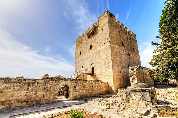 Kolossi, Limassol, Cyprus - March 28, 2013: The medieval castle of Kolossi. It is situated in the south of Cyprus, in Limassol. The castle dates back to the crusades and it constitutes a landmark of the area.