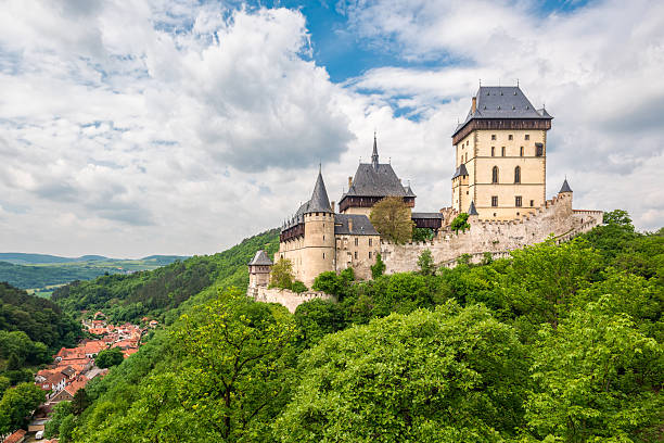 Karlstein, Czech Republic - May 26, 2016: Karlstein Castle is a large Gothic castle founded in 1348 by King Charles IV, Holy Roman Emperor and King of Bohemia.