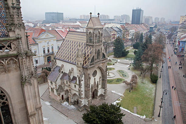 Kosice - Outlook from Saint Elizabeth cathedral to Saint Michaels chapel and the town in winter.