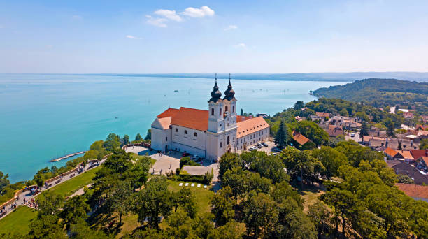 Aerial image of the Tihany Abbey, at Lake Balaton in Hungary