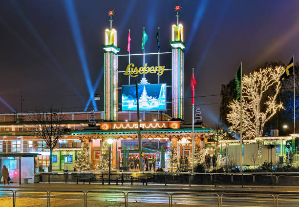 Gothenburg, Sweden - December 17, 2015: Main entrance of Liseberg park with Christmas decoration. Liseberg is one of the most visited amusement parks in Scandinavia and the most famous Christmas Market of Sweden. Photo taken outside the park territory.