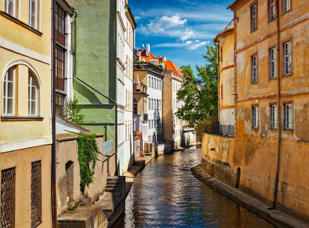 Prague Mala Strana canal and houses. Prague, Czech Republic