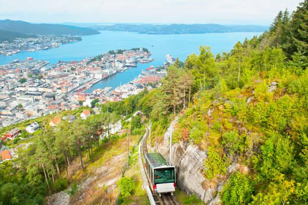 Beautiful panorama of Bergen with Funicular on Mount Floyen in Bergen, Norway