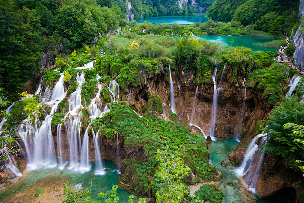 Main Waterfalls in Spring at Plitvice Jezera Croatia