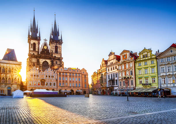 Church of Our Lady before Týn in Old Town Square of Prague in the morning. Czech Republic