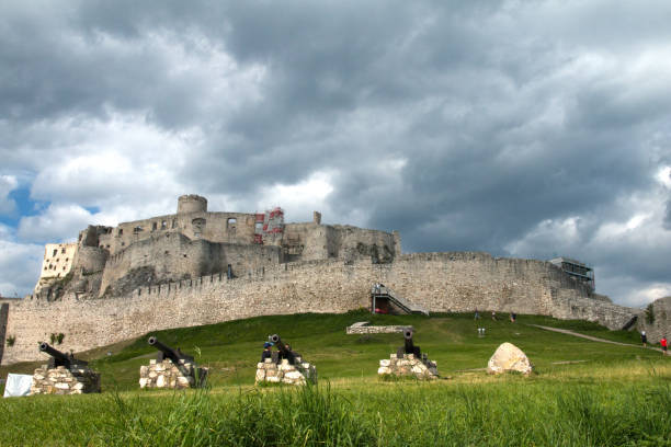 Spišské Podhradie Slovakia July 31, 2020 A row of cannons awaited the attackers in the Middle Ages at the Spissky hrad Szepes vár. Nowadays, it is a popular place for family excursions.