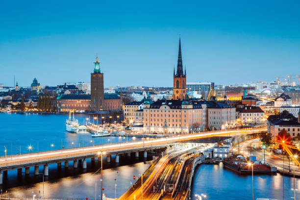 Panoramic view of Stockholm city center with famous Riddarholmen in Gamla Stan in beautiful twilight, Sodermalm, central Stockholm, Sweden
