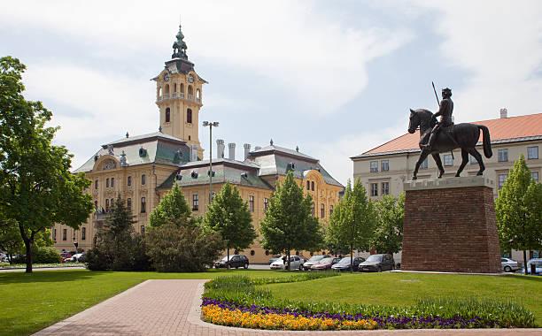 King Bela IV statue in front of Varoshaza or City House, Szeged, Hungary