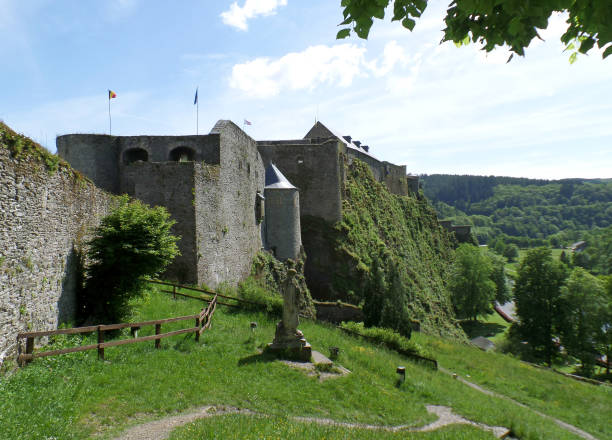 Bouillon Castle, impressive medieval fortress in the town of Bouillon, province of Luxembourg, Belgium, 25th May 2014
