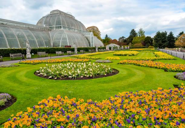 London, United Kingdom - April 2018: Greenhouse in Kew botanical gardens in London