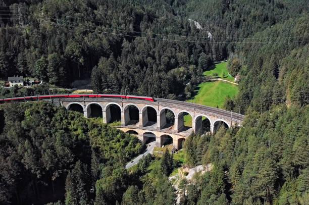 Aerial of train on Viaduct in Semmering railway, Austria
