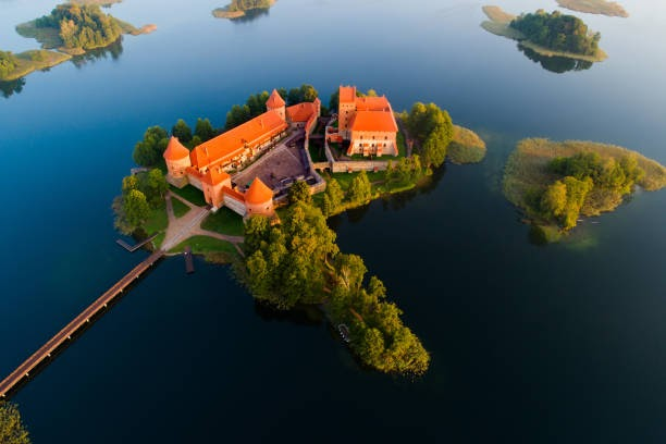 Trakai castle, Lithuania. Trakai castle view from above. Beautiful historic castle on island in the morning aerial view. Famous destination in Lithuania.