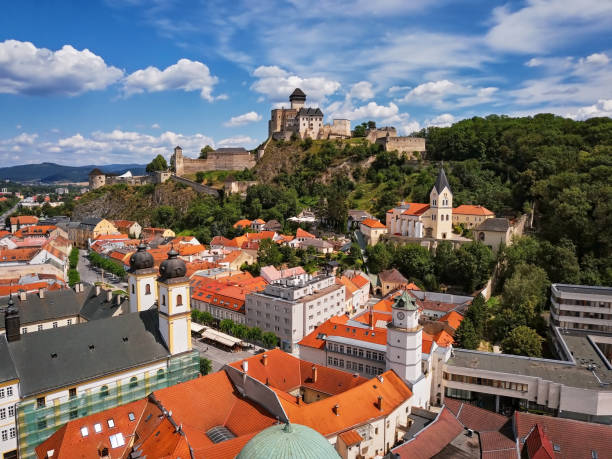 Aerial view of Trencin, Slovakia