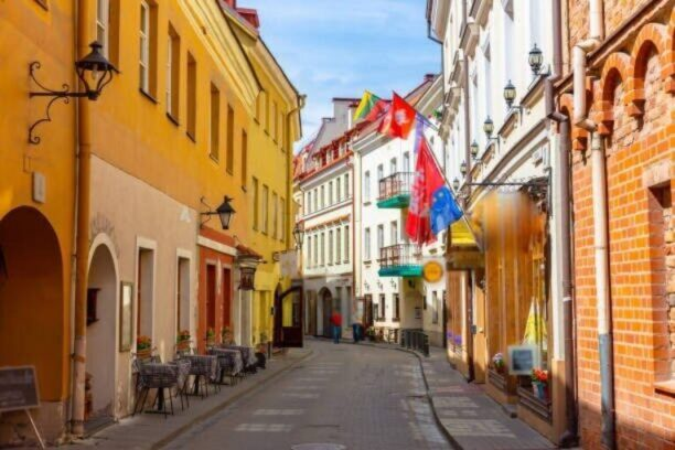 This pic shows beautiful and colorful streets in Old Town of Vilnius, Lithuania. The street has Gothic style architecture and colorful buildings.The pic is taken in daytime in june 2019.