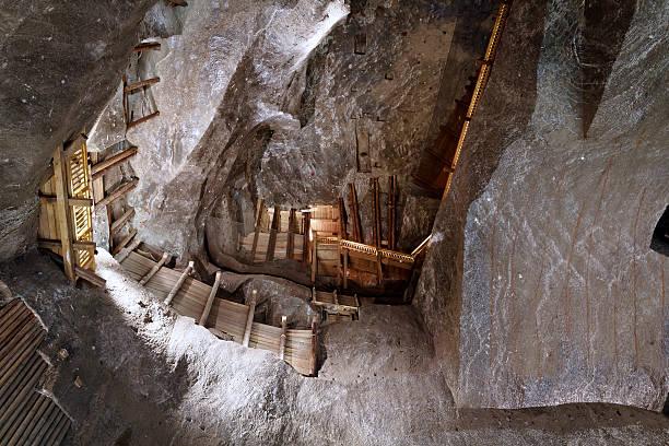 Underground chamber with balconies in the Wieliczka Salt Mine, Poland