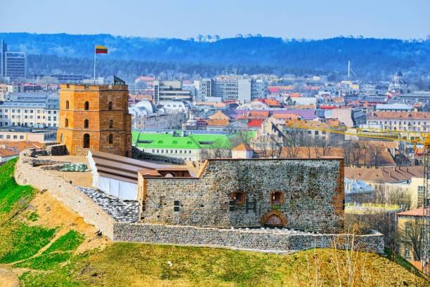 "Gediminas Castle Tower or Gedimin's Tower""nGedimino pilies boksas,the western tower of the Upper Vilna castle. Vilnus. Lithuania."
