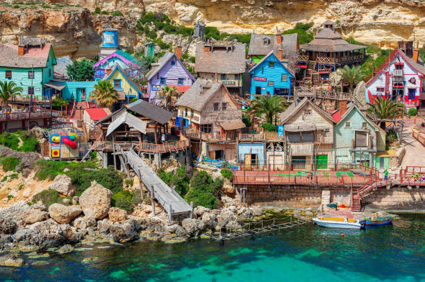 Mellieha, Malta - April 5, 2012: Popeye Village on the island of Malta, which was used as the set for Robert Altman's movie 'Popeye' (1980). It is now in use as an amusement park.