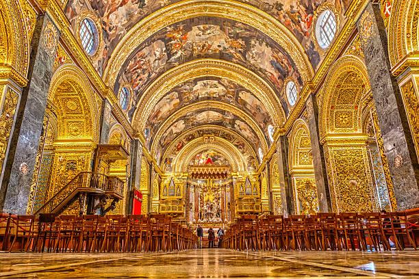 Valetta, Malta - January 21, 2015: St John'€™s Co-Cathedral a gem of Baroque art and architecture interior. Valetta, Malta